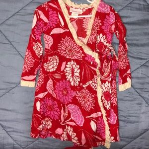 Red flower double tie dress
